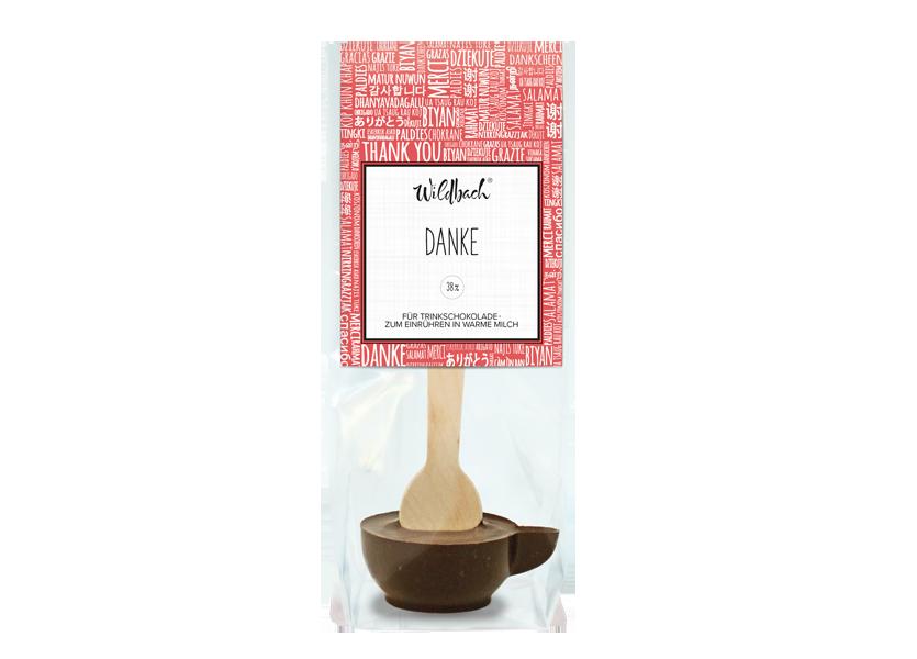 "Wildbach Schokolade - Glutenfrei Trinkschokolade am Stiel ""Danke"""