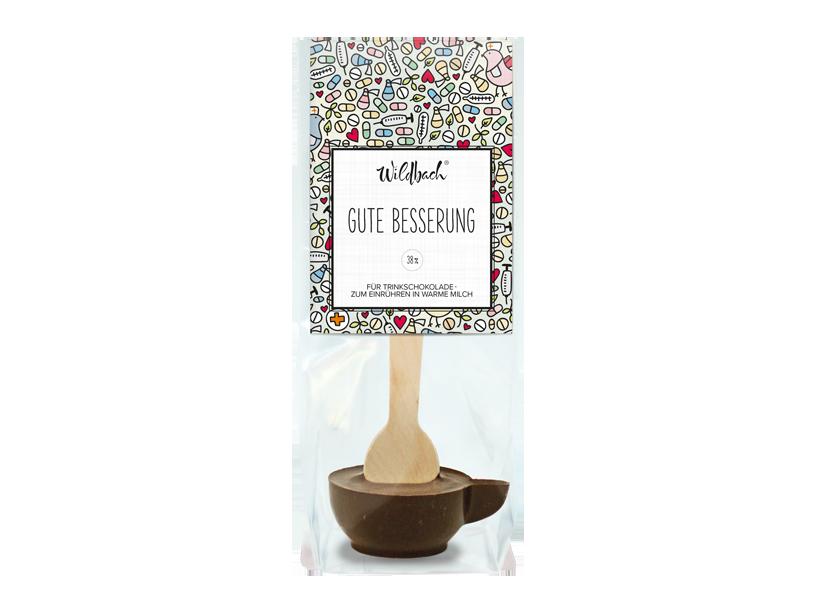 "Wildbach Schokolade - Glutenfrei Trinkschokolade am Stiel ""Gute Besserung"""
