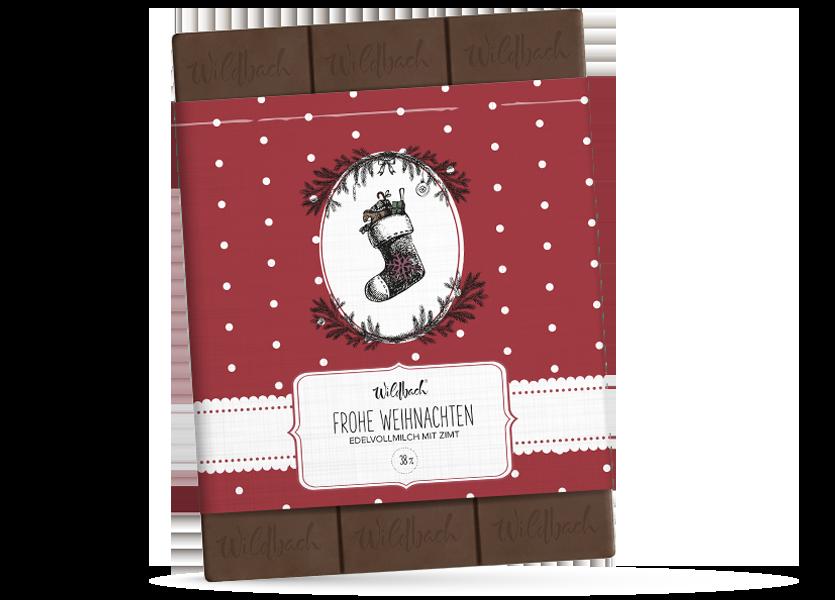 Wildbach Schokolade - Saisonschokoladen Frohe Weihnachten Edelvollmilch mit Zimt