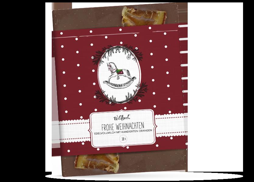 Wildbach Schokolade - Saisonschokoladen Vintage Frohe Weihnachten – Edelvollmilch mit kandierten Orangen