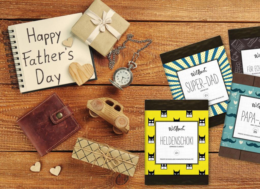 Fathers Day, Schokolade zum Vatertag, Super Dad, Papalade, Heldenschoki, Echte Männer