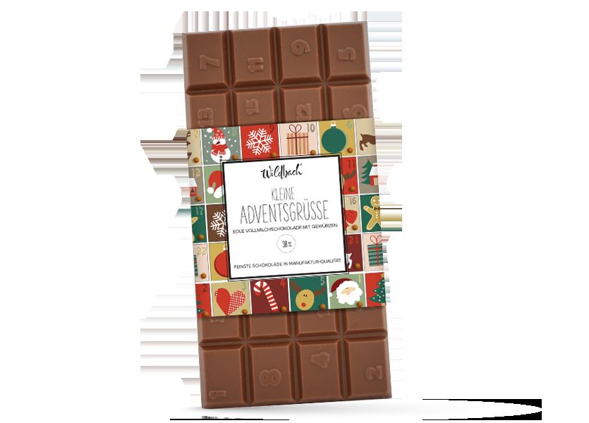 Wildbach Schokolade - Deluxe Edition Adventskalender Tafel Edelvollmilch mit Gewürzen